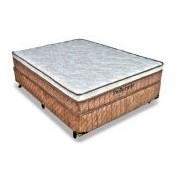 Conjunto Box Colchão Probel Molas Pocket Springs Luxo + Cama Box Nobuck Bege Crema - Conjunto Box Queen Size - 158 x 198