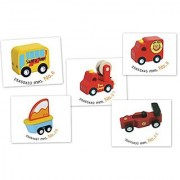 Santoys - Solid Wood Toy - Awesome Wooden Vehicles Set #1- Fire Truck Ambulance Boat Car Tour Bus- City Vehicles Set