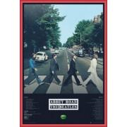 Poster Encadré: The Beatles - Abbey Road Tracks (91x61 Cm), Cadre Plastique, Rouge