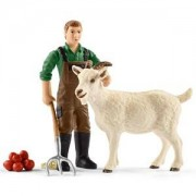 Schleich Unisex Figurines and playsets White Farmer with goat