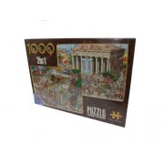 D-Toys Cartoon 2-in-1 Piramide / Greco Tempio Jigsaw Puzzles (1000 Pezzi)