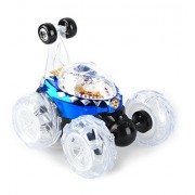 WayIn® Control Remoto Multifuncional LED Luces de Música de Juguete Stunt Car Electric Dance Volquete de Coches Drift Modelo que Rueda giratoria rueda de automóvil azul