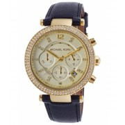 Michael Kors Parker Chronograph Navy Blue Genuine Leather Champagne Dial - MKORS-MK2280 ChampagneNavy Blue