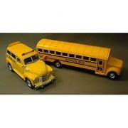Yellow School Bus Metal Diecast Set of 2 (7 Traditional Bus + 4.5 1950 Chevy Suburban Bus)