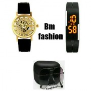 Bm fashion golden black leather strap Watch With One Black Robotic Led Watch free google for women