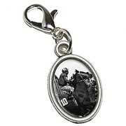 Graphics and More Horse Racing - Race Track Betting Running Vintage Antiqued Bracelet Pendant Zipper Pull Oval Charm with Lobster Clasp