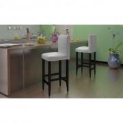 vidaXL Sada 4 ks moderných bielych barových stoličiek z koženky