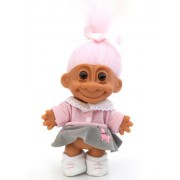 """My Lucky 1950's Poodle Skirt 6"""" Troll Doll (Pink Hair) by Russ Berrie"""