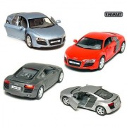 Set of 4: 5 Die-cast Metal Audi R8 Sport Coupe 1:36 Scale (Metallic Blue/Grey/Red/Silver)