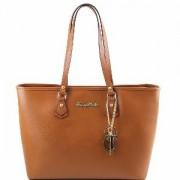 Grand Sac Cabas Epaule Cuir Femme Camel -Tuscany Leather-