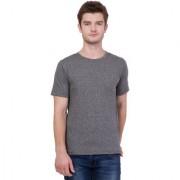 AERO Grey Solid Cotton Round Neck Slim Fit Half Sleeve Men's T-Shirt