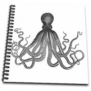 3dRose db_112921_1 Vintage Octopus-Black and White Lord Bodner Kraken-Cthulu-Nautical Underwater Sea Giant Squid-Drawing Book 8 by 8-Inch