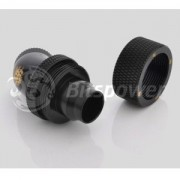 Fiting compresie dublu rotativ 45 grade alama Bitspower 1/4inch la 19/13mm, Matte Black