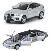 Playking Kinsmart Combo of 1999 Lincoln Town Car Stretch Limousine and BMW X6 5'' Die Cast and Pull Back Action Car