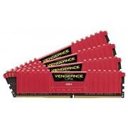 Corsair CMK16GX4M4A2666C15R Vengeance LPX Memoria per Desktop a Elevate Prestazioni da 16 GB (4x4 GB), DDR4, 2666 MHz, CL15, con Supporto XMP 2.0, Rosso