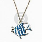 Antikolt halacska medálos nyaklánc kék kővel