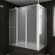 vidaXL Painel de vidro em forma L dobravel para banheira 70 x 120 140 cm