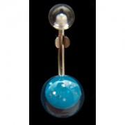 Piercing de nombril Boule turquoise paillettes