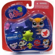 Littlest Pet Shop Exclusive Pet Pairs Portable Collectible Gift Set - Green Frog (#1254) and Brown Kangaroo (#1255) Plus Accessories by Littlest Pet Shop