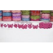 AsianHobbyCrafts Polyester Fabric Adhesive Laser Cut Design Ribbons ,5 m (Dark pink adhesive)