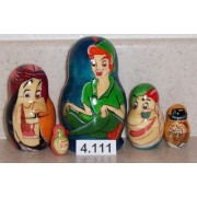 Peter Pan * Russian Nesting Doll 5 Pc / 4 In * 4.111