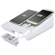 Duo-incarcator de birou LEITZ Complete, pentru 2 smartphone-uri sau o tableta PC - alb