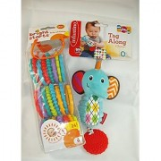 Baby Gift Bundle - 2 Items: Infantino Tag Along Chime Soft Teether and Bright Starts Lots of Links 24 Pack