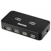 Hub USB Hama 7 porturi cu sursa negru