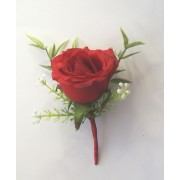 2 of Red Grand Prix buttonholes corsage & FREE PIN