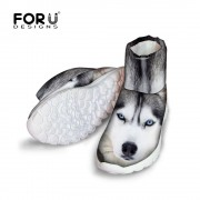 FORUDESIGNS Fashion 3D Animals White Dog Husky Printed Women Winter Snow Short Boots Lady Comfort Non-Slip Rian High Top Shoes