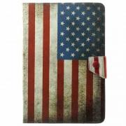 Capa Folio Universal em Pele para Tablet - 9,7 - 10.1 - Bandeira Americana Vintage