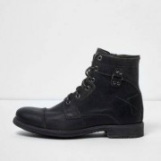 River Island Mens Dark Grey leather military boots