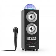 auna DiscoStar Silver portabler 2.1-Bluetooth-Lautsprecher USB Akku LED Mikro