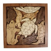 "Turtle Creek Wood Brain Teaser Puzzle - Can you fit all 9 Turtles into the ""pond""?"