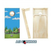 AJJCornhole Sword in Stone Cornhole Set 107-Sword In Stone with red/ bags Bean Bag Color: Red/Royal