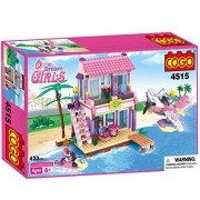 COGO Dream Girls Blocks Beach House Pink Friends Plastic Toys Seaside Villa Christmas Birthday Gift for Girls Building Blocks Construction Play Set Compatible with Lego Girls 423 Pcs 4515