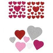 3-D Foam Glitter Heart Stickers Bundle - Pink & Red Hearts - 60 Stickers