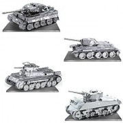 Metal Earth 3D Model Kits - Tanks Set Of 4 - Tiger 1 T-34 Chi-Ha And Sherman