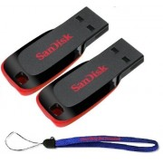 SanDisk Cruzer Blade 64GB (2 Pack) USB 2.0/3.0 Flash Drive Jump Drive Pen Drive SDCZ50-064G - w/ (1) Everything But Stromboli (tm) Lanyard