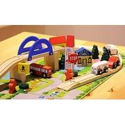 40 Pieces of Premium Wood toy include:10 Bridges 2 Bridge pier,4 traffic signs 5 trees 6 houses & 8 pics of Gr