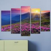 Декоративeн панел за стена с планински пейзаж и пурпурни цветя Vivid Home