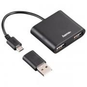 Hub USB Hama OTG 2 porturi negru