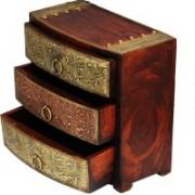 Shreeng THREE drawer wooden brass work box