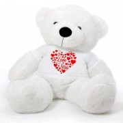 White 5 feet Big Teddy Bear wearing a I Love You T-shirt