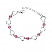 Swarovski Elements Bracelet Coeurs et Cristal Swarovski Element rose