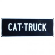 """Novelty Number Plate - Cat Truck White On Black"""