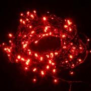 Karácsonyi LED fényfüzér zöld vezetékes 11m piros