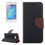 Cross Texture Contrast Color Style Leather Case with Holder & Card Slots & Wallet for Samsung Galaxy J1 Ace / J110(Brown)