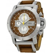 Fossil Chronograph Brown Leather Strap Mens Watch JR1157 N/A