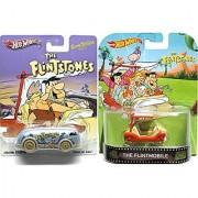 The Flintstones Hot Wheels 2 Car Set - Retro Entertainment Series Flintmobile & Pop-Culture Haulin Gas Die-Cast Cartoon Vehicles